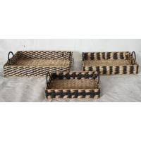 Buy cheap Reactangle tray with cattail and paper, round box, handcrafted storage basket from wholesalers