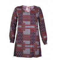 V Neck Ladies Plus Size Dresses Abstract Printed Dress With Long Sleeve