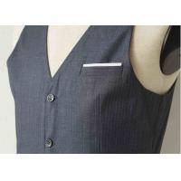 Buy cheap Big Stripe Mens Three Piece Suit , Grey Wool Three Piece Suit Anti - Wrinkle product