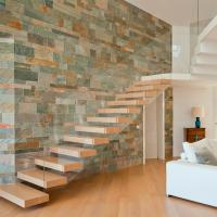 Buy cheap Frameless Glass Railing Timber Steps Build Floating Staircase product