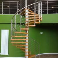 Buy cheap Internal Spiral Staircase Design For Timber Stair Steps Stainless Steel Railings / Steel Wood Spiral Stair product