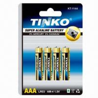China Alkaline Batteries, Size AAA 1.5V with Aluminum Foil Jacket, CE, MSDS and SGS Marks  on sale