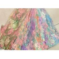 Buy cheap 3D Beaded Lace Fabric , Scalloped Multi Color Floral Embroidered Fabric For Skirt product