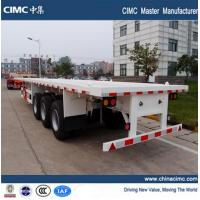 China tri-axle 20ft 40ft semi flat bed truck trailer with container lock on sale