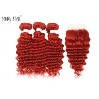 Buy cheap Deep Wave Human Hair Bundles With Closure 99J Curly Weave Red Color product