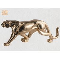 Buy cheap Gold Leaf Polyresin Leopard Sculpture Fiber Glass Animal Table Statue Figurines product