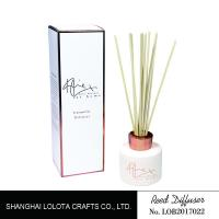China White Painting Round Bottle Home Reed Diffuser With Simple Folding Box on sale