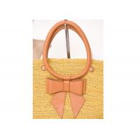 Buy quality Autumn Yellow Raffia Handbags / Cowhide Handbags For Church , 27cm x 37cm at wholesale prices
