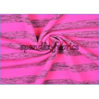 Buy quality Rose Grey Heather Stripe Supplex Lycra Fabric , Polyeter Nylon Spandex Blend Yarn Fabric for Tee at wholesale prices