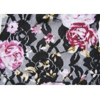 Buy quality Flower Black / White Digital Printed Stretchy Lace Fabric Or Wedding Dresses at wholesale prices