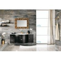 Buy cheap High Level All Wood Vanity , Black Wood Bathroom Vanity With White Marble Countertops product