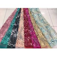 Buy cheap Embroidered Sequin Lace Fabric , Floral Tulle Fabric For Fashion Party Gown Dress product