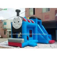 Huge Outdoor Thomas Train Inflatable Bounce Houses With Slide Blue Color
