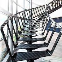 Buy cheap Unique design Dark color steel centre mono stringer curved stairs / curved steel from wholesalers