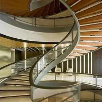 Buy cheap Top Grade Residential /Commercial Prefabricated Beautiful Stainless Steel wooden Curved Stairs product