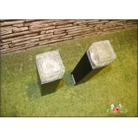 Iron Ice Bollard Square Solar Outside Lights / Solar Powered Decking Lights