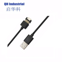 Buy cheap 3A 700gf Stong Magnetic Force 1m Length Black Male Female 4Pin Magnetic Charging Cable Connector product