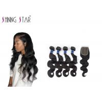 Buy cheap Double Drawn Unprocessed Body Wave Human Hair Weave With Closure 10-26 Inch product