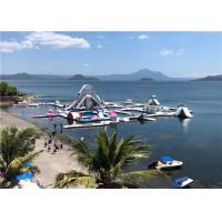 Buy cheap Lake Pool Colorful Inflatable Amusement Park Long Range With Trampolines Slides product