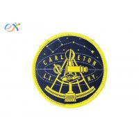 Buy cheap Woven Logo Polyester Fabric Patch , Round Shape Merrowed Edge Patch Paper Coated Back product
