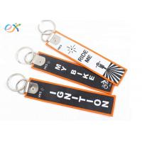 Buy cheap Double Side Design Custom Embroidered Key Tags With Machine Woven Own Name Logo product