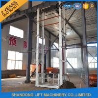 Buy cheap 1.5 tons 5 m Hydraulic Outside Guide Rail Vertical Cargo Lift for Building Warehouse product