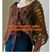 Buy cheap Hand Knitted Poncho, Brown Scarf,Wool Knitted Sweater Green Free Knitting Crochet Woman product