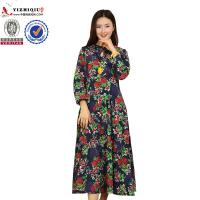 Chinese Retro Ladies Long Sleeve Dresses With Mandarin Collar Neckline