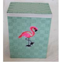 Buy cheap Flamingo design laundry basket with paper material, reseda color, rectangle shape product