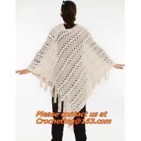Quality women yarn knitted hollow out crochet poncho to keep warm and fashion shawls for sale