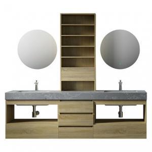 Large Storage Space Grey Bathroom Vanity , 2 Touch Round Mirrors Wall Mount Vanity