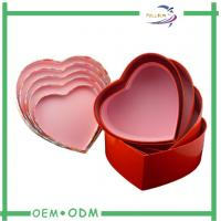 Buy quality Red Heart Chocolate Gift Boxes Hand Made Foil Stamp Grey Chip Cardboard at wholesale prices