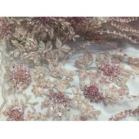 Buy cheap 47 Inch Pink Embroidered Heavy Beaded Lace Fabric By The Yard With Scalloped Edge product