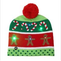 China Girls Promotional Products Caps /  Knitted Beanie Christmas Hats LED Lighted Flashing on sale