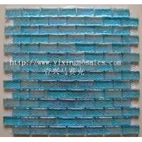 China YX-RM08 8mm thickness coloured graze blue glass tile mosaic,pool glass mosaic,Foshan tile on sale