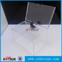 Buy cheap Custom box Plexiglass acrylic donation/tips/sugguestion box with sign holder product
