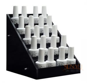 Buy cheap Acrylic 5 Tier Nail Polish Counter Display Black MDF OEM Logo Printing product