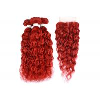 Buy cheap Water Wave Texture Curly Human Hair Bundles Brazilian Hair Red Color product