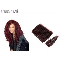 Buy cheap Unprocessed Indian Deep Wave Human Hair , Healthy Ends Burgundy Indian Hair product