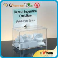 Buy cheap Waterproof Lockable Acrylic Donation / Suggestion Boxes with Card Holders product