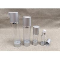 China Various Size Airless Acrylic Lotion Bottle Transparent Bottle Body Silver Cap on sale