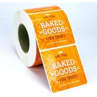 Buy cheap Custom Glossy Sticker Labels Roll , Black Round Vinyl Label Stickers For Food product