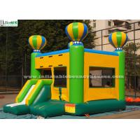 Yellow Green Balloon Kids Inflatable Bouncy Castles With Slide For Birthday Party
