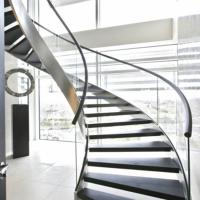 Buy cheap Custom Indoor stairs curved solid red oak wood stair railing/marble stone stair from wholesalers