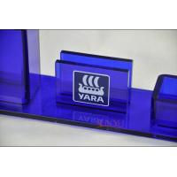 Buy cheap Table Top Brochure Stands Custom Blue Plastic Office Supplies Pen Holder Transparent product