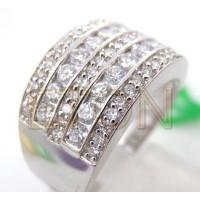 Buy quality Hand Setting White CZ Rhodium Plating 925 Silver Jewelry at wholesale prices