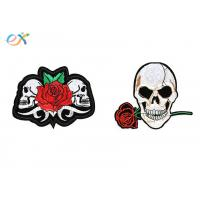Buy cheap Polyester Material Skull Motorcycle Patches Irregular Shape With Laser Cut product