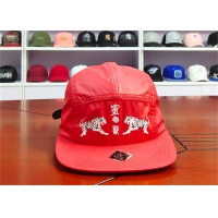 Buy cheap Red Camper Flat Brim Leather Fabric Cap 5 Panels product