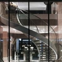 Buy cheap Indoor / Outdoor Stainless Steel Double Beam Curved Wood Stairs with Glass Railing product