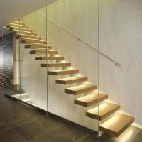 Buy cheap High quality indoor floating solid wood tread open stairs/staircases floating staircase product